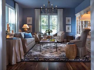 decoración de sala azul