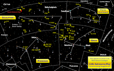 Constellation map of Grus, Phoenix, Piscis Austrinus, and Sculptor