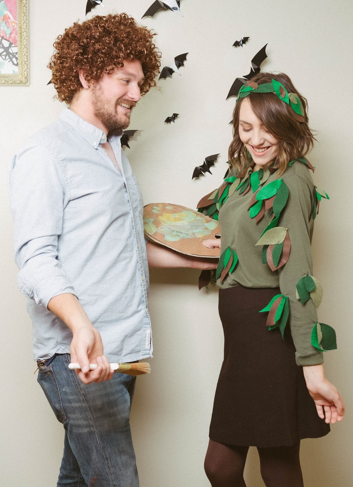 easy diy couples costume bob ross and his happy tree