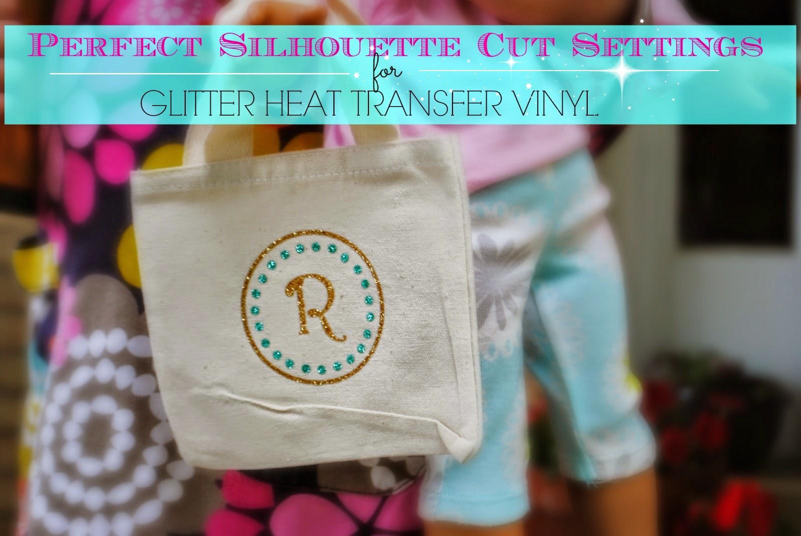 Silhouette Cameo, glitter HTV, glitter heat transfer vinyl, cut settings