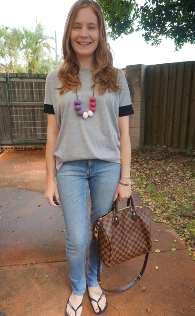 Away From Blue Aussie Blogger Casual Outfit Grey Tee Skinny Jeans LV Speedy