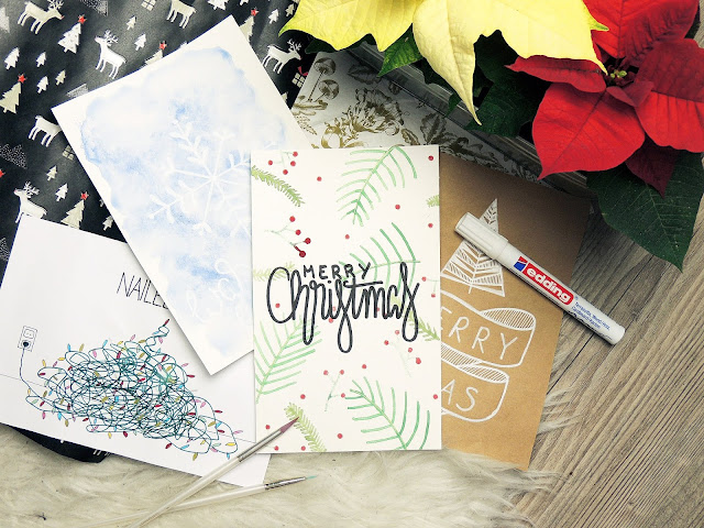 hand lettering christmas cards DIY blogmas glitter is black
