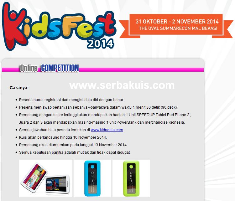 Kuis Kidsfest 2014 Berhadiah Tablet SpeedUp Pad Pro 2