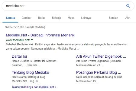 Blog Mediaku.Net Dapat Sitelink