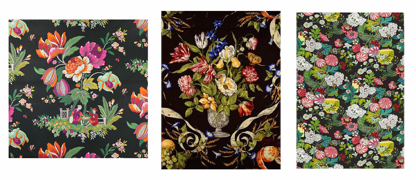 Floral Fabrics With A Black Background Design Indulgence