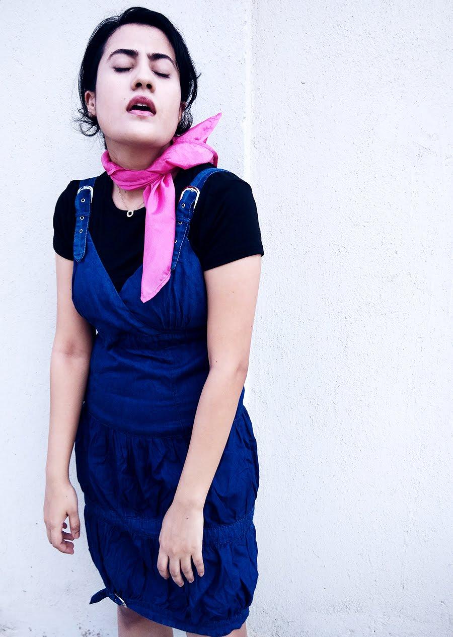Zara Top, denim Dress,autumn blues,Zara Bag,pink Scarf Diy