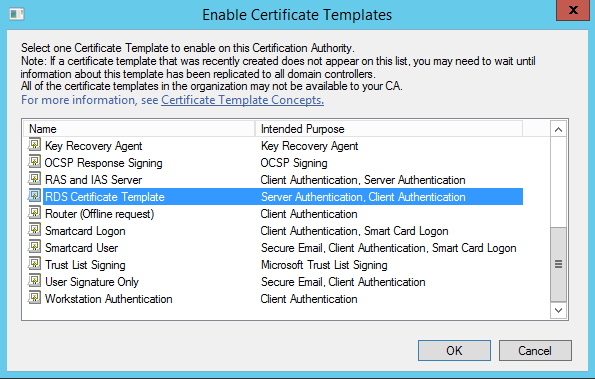 Random notes of a sysadmin windows 2012 r2 rds configure rds select the new rds certificate template and click ok yelopaper