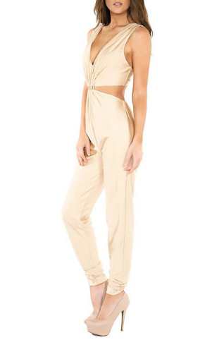 Cream Colored Jumpsuit StyleWe - A Glimpse of Glam Andrea Tiffany