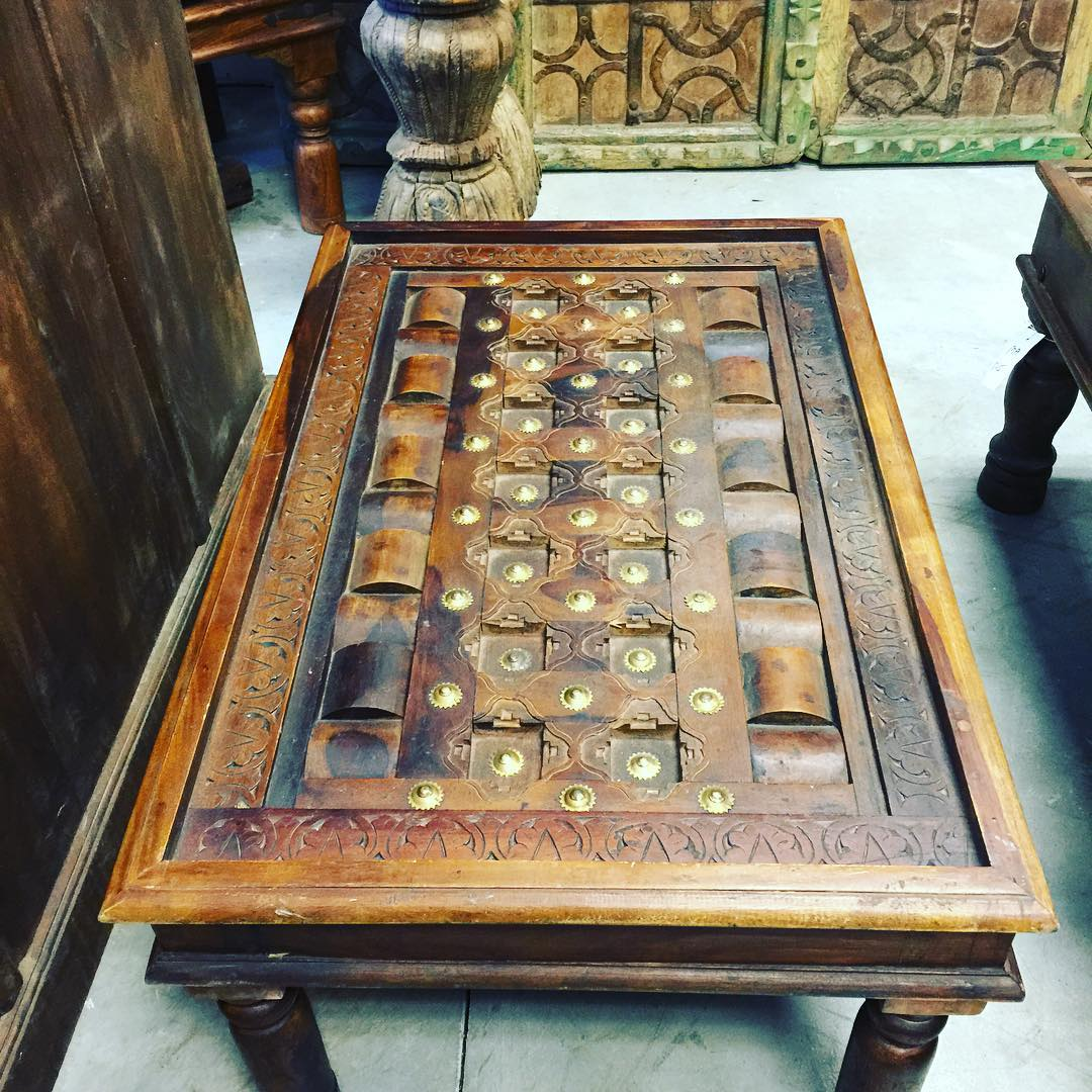 Antique Indian Hand Carved Coffee Table