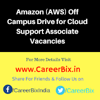 Amazon (AWS) Off Campus Drive for Cloud Support Associate Vacancies