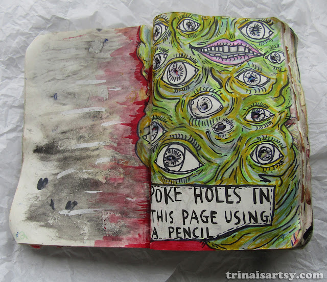 Wreck this Journal - Poke holes in this page using a pencil with a blobby eye monster
