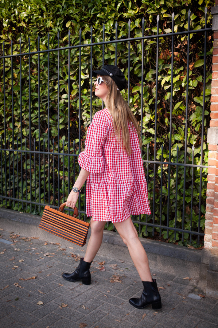Outfit: gingham babydoll, fiddler cap and bamboo bag