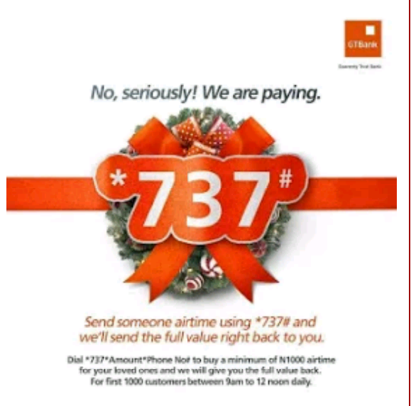 How To Get N10,000 Free Airtime Via GTBank Airtime promo - NATIONGISTZ