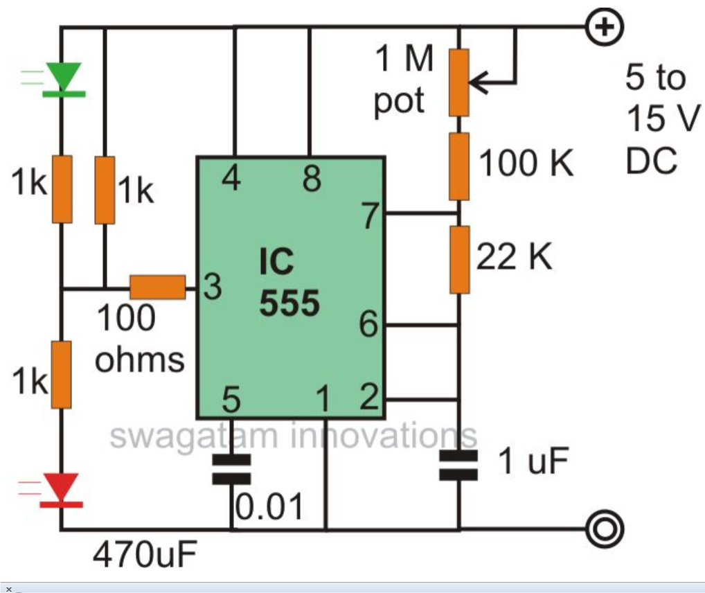 Here the leds though blink alternately the intensity may fluctuate from dim to bright over the leds