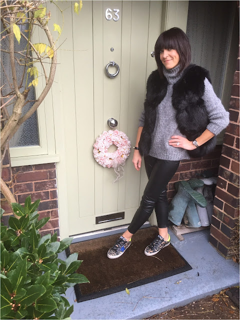 My Midlife Fashion, Faux Fur Gilet, Zara Chunky Knit Rollneck, Pleather leggings, Golden Goose leopard print trainers