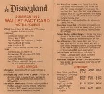 Vintage Disneyland Tickets Info - 1983