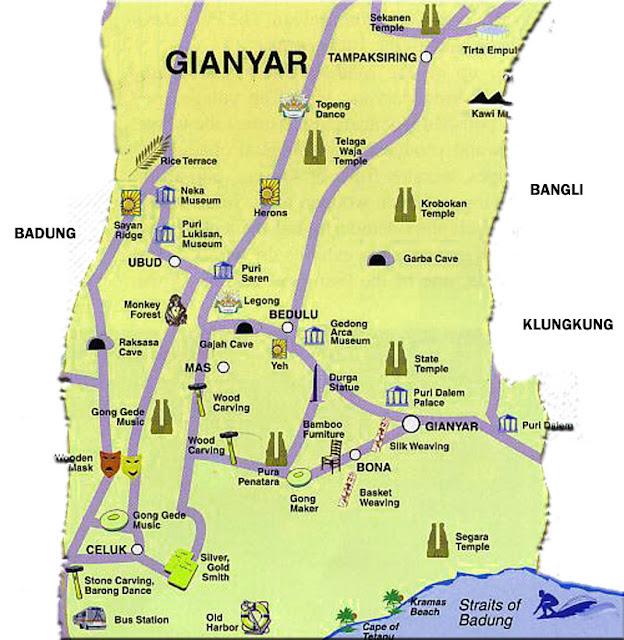 Gambar Peta Jalan Kabupaten Gianyar Bali