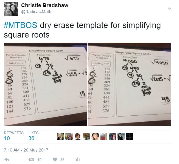 Radical 4 Math Simplifying Radical Expressions Dry Erase Templates If you found multiple perfect squares during your simplification process, move all of their square roots to the outside of the √ symbol and multiply them together. simplifying radical expressions dry
