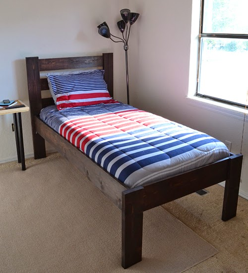 We Went With A Dark Kona Color That Just Seemed Very Tween Boy Like And Found Some All American Red White Blue Bedding To Finish It Up