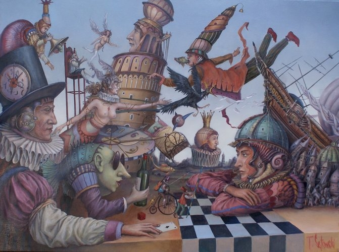 10-Siedem-i-pół-życia-Kapitana-Sentiego-Tomek-Sętowski-Surreal-Oil-Paintings-that-Tell-a-Story-www-designstack-co