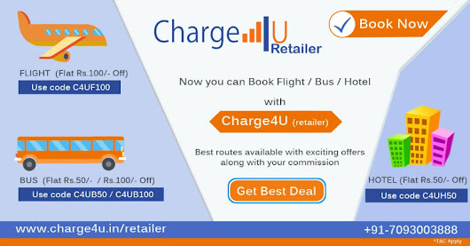 Now You Can Book Flight, Bus & Hotel from Charge4u Retailers..