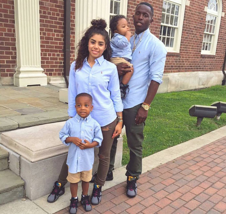 Aww! Young cute family slays together in blue shirts