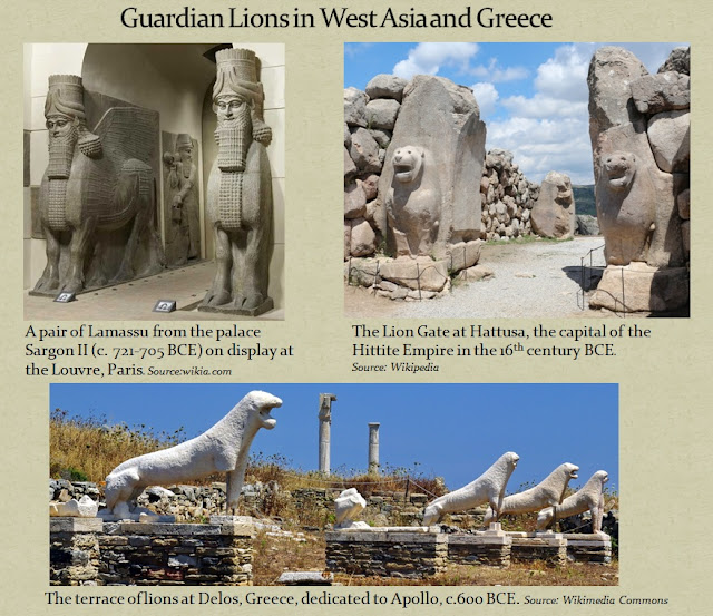 Lion guardians are a common theme in sacred architecture across cultures