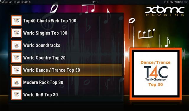 TOP 40 CHARTS Addon KODI