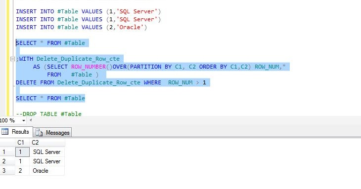All about SQLServer: TSQL script - CTE to remove duplicate rows