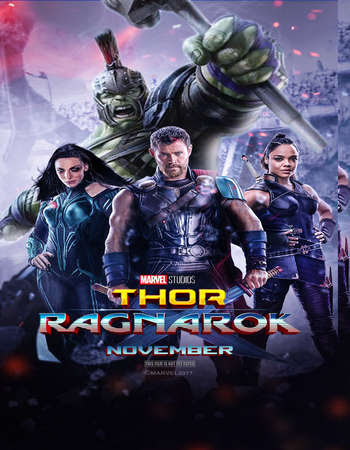 Poster Of Free Download Thor: Ragnarok 2017 300MB Full Movie Hindi Dubbed 720P Bluray HD HEVC Small Size Pc Movie Only At worldfree4u.com
