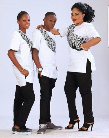 Actress Regina Chukuwu and her kids are beautiful in matching outfits