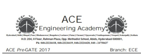Ace Academy Pre Gate Test Paper Electronics and Communication Engineering