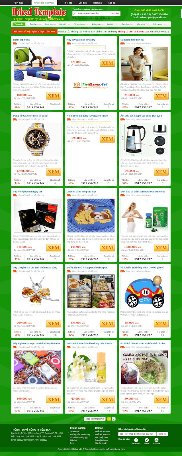 Bdeal Template - Giao diện bán hàng online dạng khuyến mãi cho Blogspot