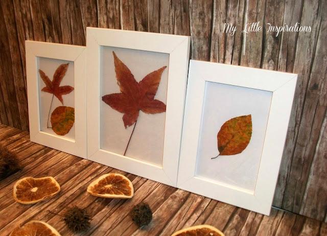 Quadretti con foglie secche d'autunno - di lato - My Little Inspirations