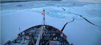 NOAA and partner scientists collected water samples to measure ocean acidification in the Bering, Chukchi and Beaufort seas on two research cruises aboard USCG cutter Healy. (Credit: Mathis/NOAA) Click to Enlarge.