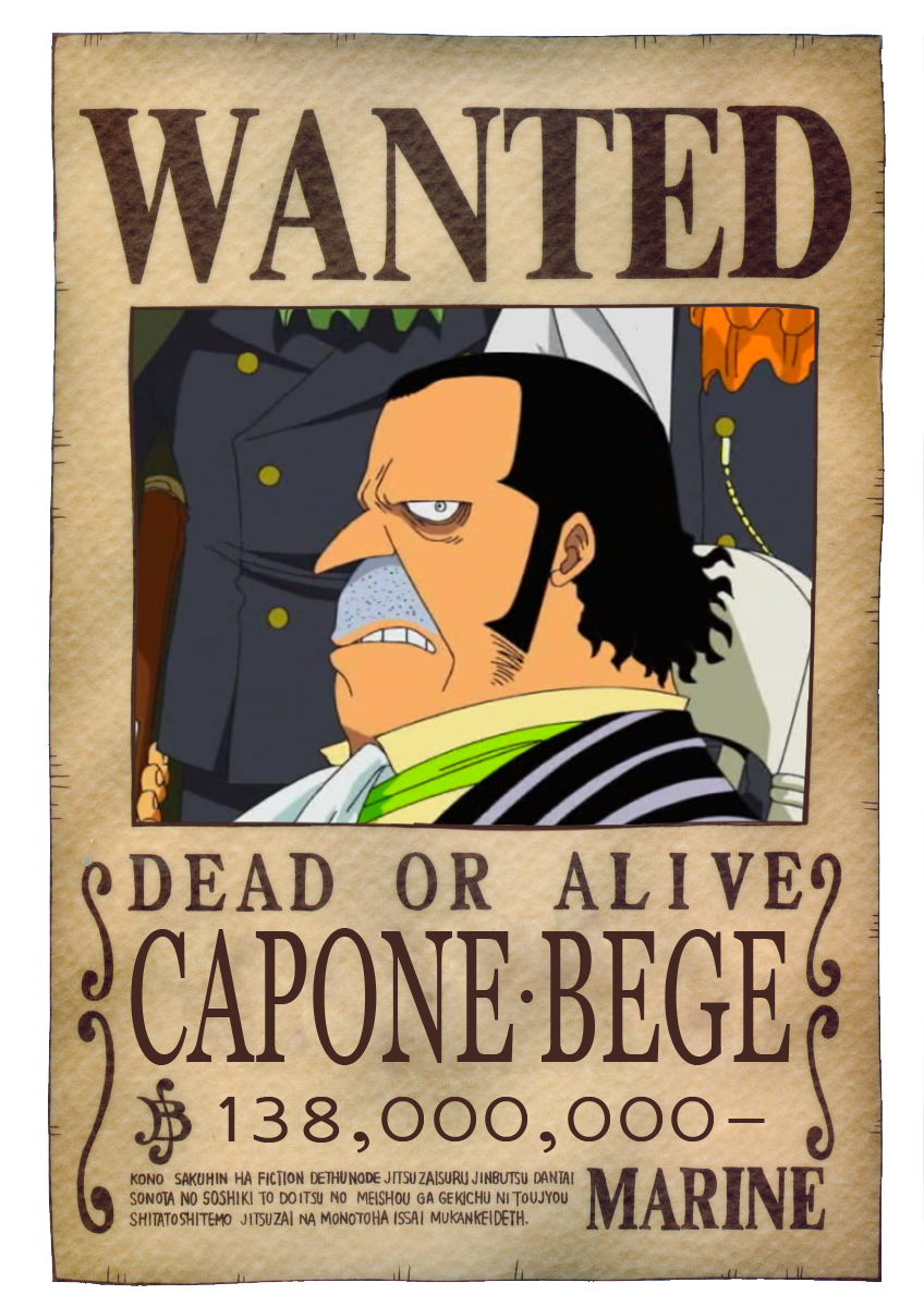 BOUNTY WANTED DEAD OR ALIVE CAPONE BEGE