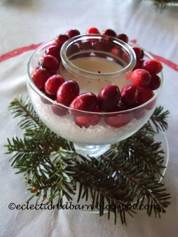 Eclectic Red Barn: Candle centerpiece with fresh cranberries