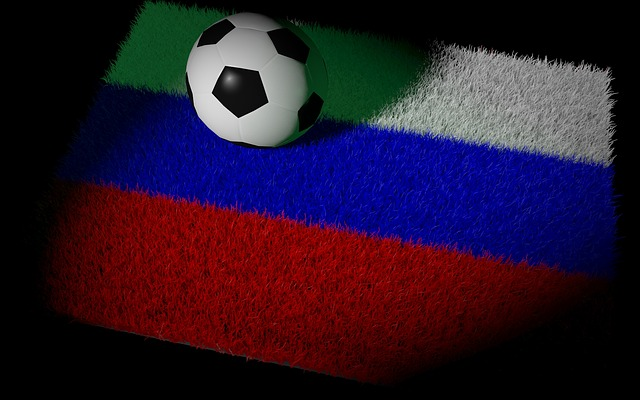 football on a Russian flag painted onto a football pitch
