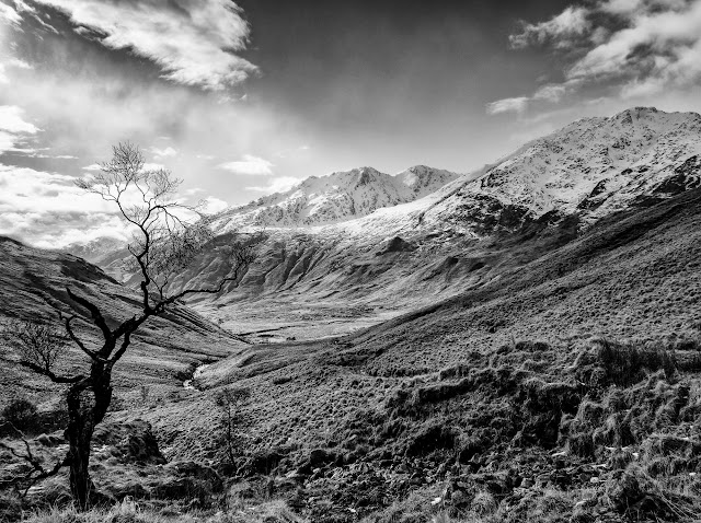 Looking south towards Beinn an Tuim converted to mono in Adobe Lightroom.