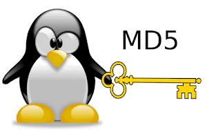 Pinguim Tux mascote do Linux, segurando uma chave com a mão esquerda  e a palavra MD5 em cima da chave