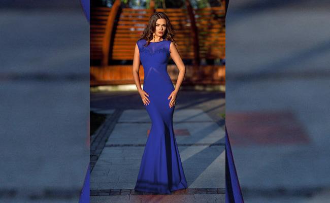 Rochie stil sirena eleganta, fara maneci - albastra