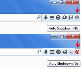 Pulsante Auto Shutdown NG addon Firefox acceso e spento