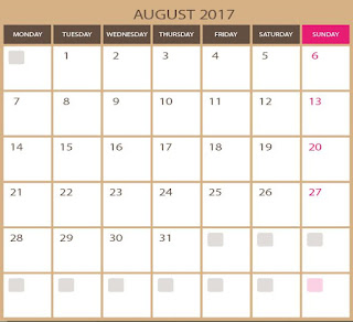 blank calendar for August 2017 - printable and editable in photoshop and illustrator formats ( EPS, AI) images qualities. Downloads vectors for free