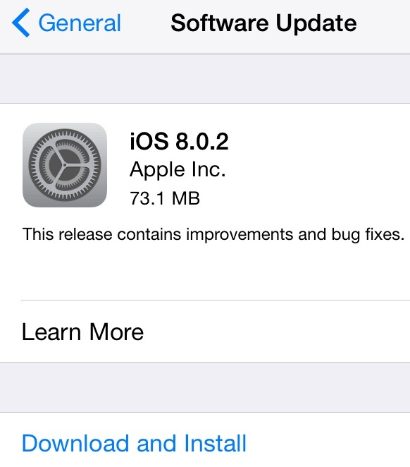 Apple iOS 8.0.2 (12A405) OTA Update