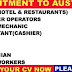 URGENT RECRUITMENT TO AUSTRALIA | APPLY NOW