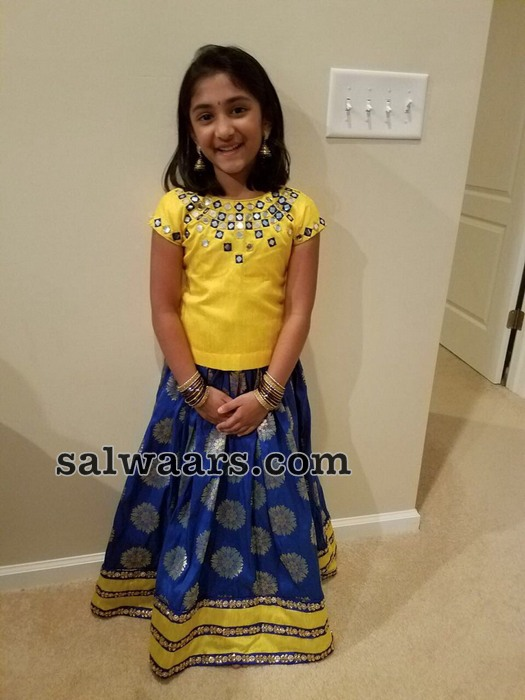 Pretty Girl in Blue Yellow Benaras Lehenga