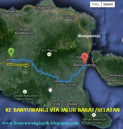 Rute perjalanan ke Banyuwangi lewat jalur selatan via Jember