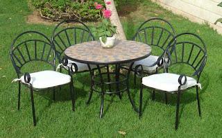 mesas y sillas mosaico forja