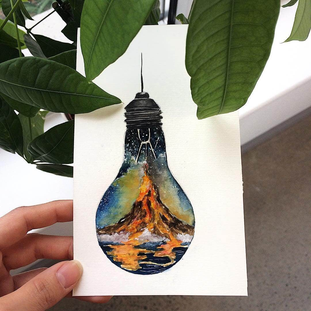 13-Volcano-Light-Bulb-Tiny-Watercolors-Compasses-Light-Bulbs-and-Trees-www-designstack-co