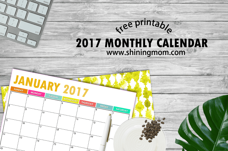 Musings of an Average Mom: 2017 Monthly Calendars